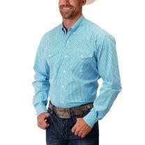 Roper Mens Blue Gingham Plaid Button Down Shirt