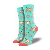 Western Womens Floral Steer Skull Boot Socks