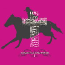 Cowgirl Unlimited Womens Riding Cowgirl Cross T Shirt Pink