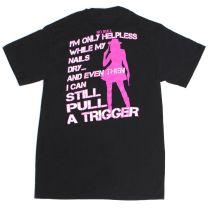 Womens Western No Bull Armed Cowgirl T Shirt Black