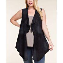 Vocal Womens Plus Size Lace Up Suede Vest Black
