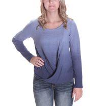 Vocal Womens Wrap Hemline Rhinestone Ombre Shirt