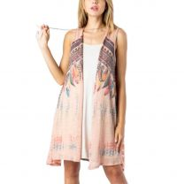 Vocal Womens Peach Feather Cardigan Duster