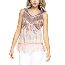 Voice of California Womens Peach Feather Tank Top