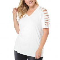 Vocal Womens Plus Size Cut Sleeve Shirt Multiple Colors