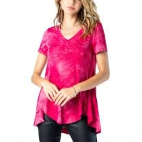 Vocal Womens Short Sleeve Tie Dyed Rhinestone Top