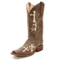 Circle G Womens Embroidered Cross Square Toe Cowboy Boots Brown