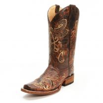 Circle G Womens Embroidered Dragonfly Square Toe Cowgirl Boots Brown