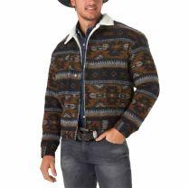 Wrangler Mens Whiskey Sherpa Lined Jacquard Jacket
