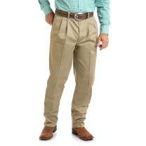 Wrangler Mens Casual Pleated Khaki Pants