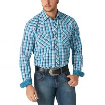 Wrangler Mens 20X Competition Blue Plaid Snap Shirt
