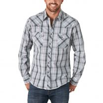 Wrangler Mens Gray and Purple Plaid Snap Shirt