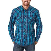 Wrangler Mens Blue Navy Plaid Snap Shirt
