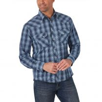 Wrangler Mens Long Sleeve Blue Plaid Snap Shirt