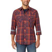 Wrangler Premium Retro Mens Navy Plaid Snap Shirt