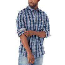 Wrangler Retro Mens Denim Plaid Button Down Shirt
