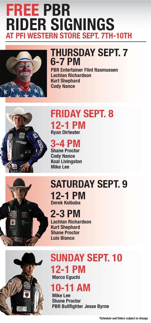 PBR Rider Signing Schedule