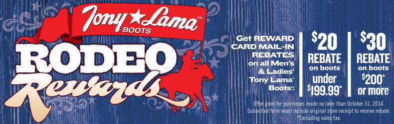 tony lama rodeo rewards rebate