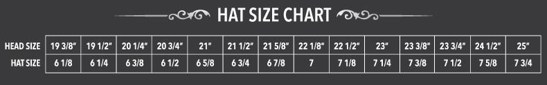 cowboy hat size chart