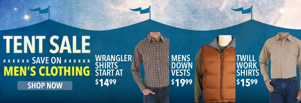 tent sale mens western clothing
