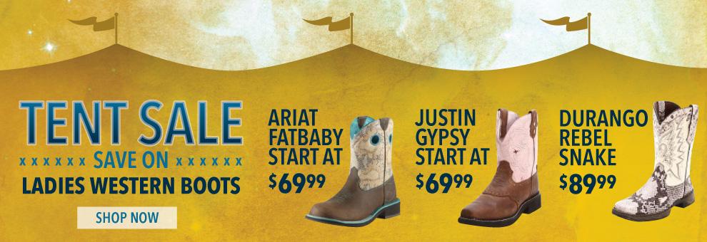 tent sale womens cowboy boots