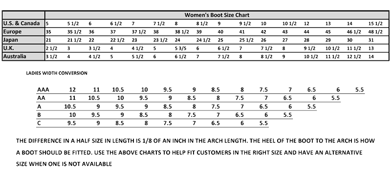 Womens Boot Size